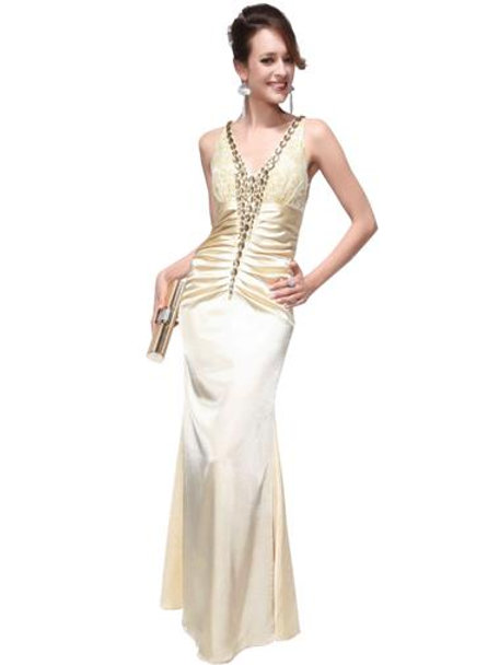 Gorgeous Beaded V Neck Evening Dress