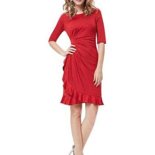 Half Sleeve Ruched Waist Ruffles Stretchy Wear to Work Dress