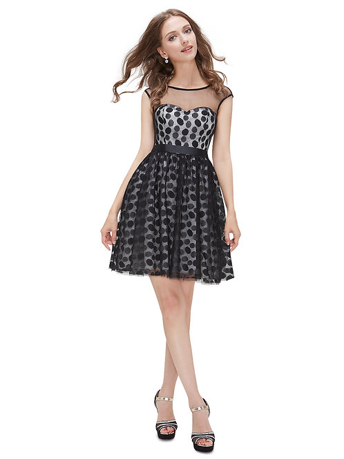 Semi-Sheer Lace Polka Dot Short Black Dress