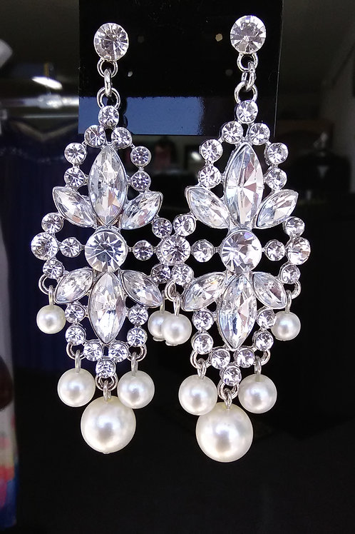 Faux Sparkle and Pearl Pierced Earings
