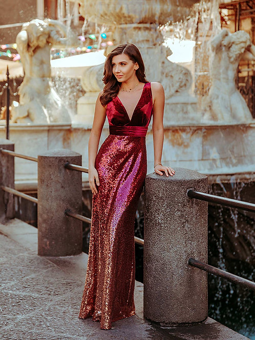Velvet and Ombre Sequin Prom Dress