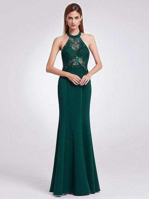 Elegant Halter Sleeveless Lace Floor-Length Open Back Evening Dress