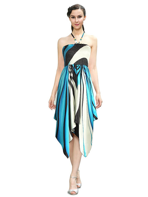 Halter Stretchy Printed Asymmetric Party Party Dress