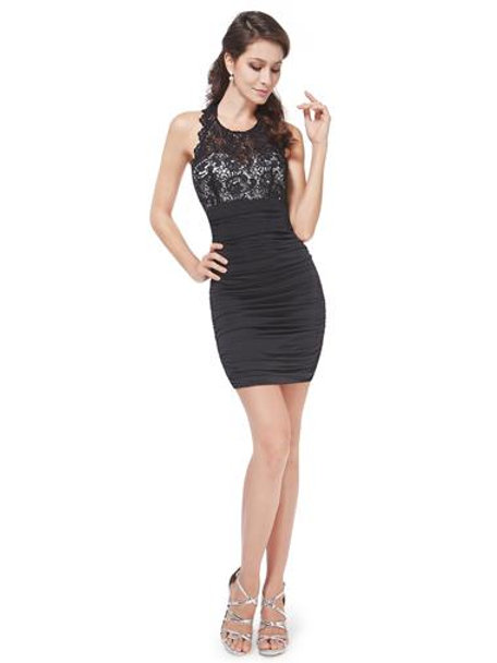 Open Back Lacy Little Black Dress