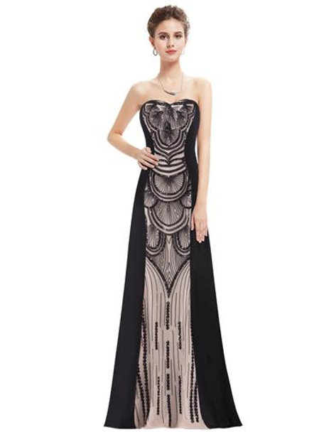 Women's Strapless Floor Length Beaded Art Deco Evening Dress