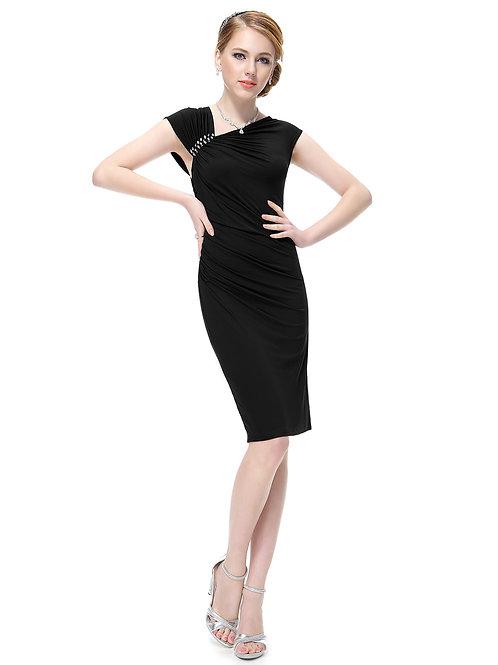Rhinestones Black Stretchy Satin  Dress