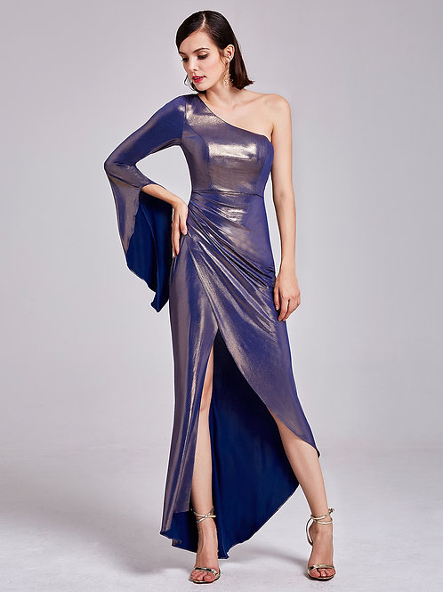 Long Women's One Shoulder Flare Sleeve Evening Party Dress