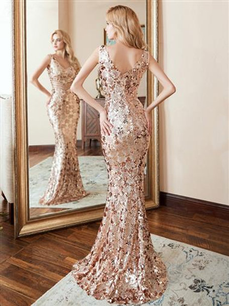 Rose Gold Mermaid Sequin Gown