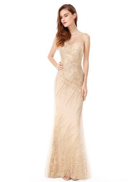 Round Neck Sleeveless Long Evening Party Dress
