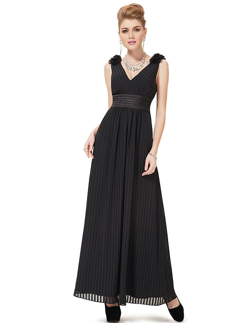 Black Double V-Neck Empire Waist Pleated Evening Party Dress