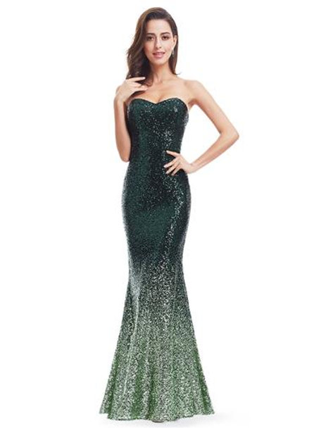 Mermaid Sweetheart Strapless  Long Sequin Party Dress