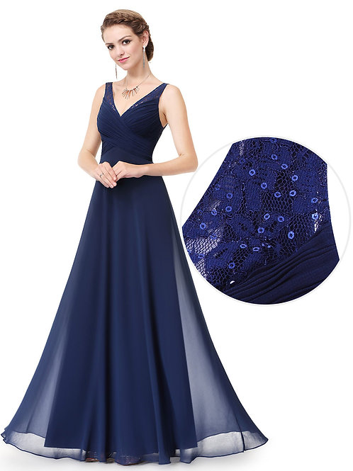 V-neck Long Evening Dress