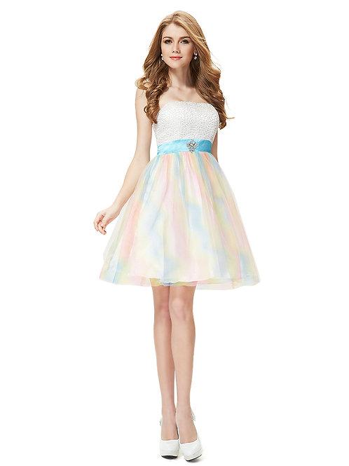 Strapless Lacey Fashion Short Prom Pastel Dress