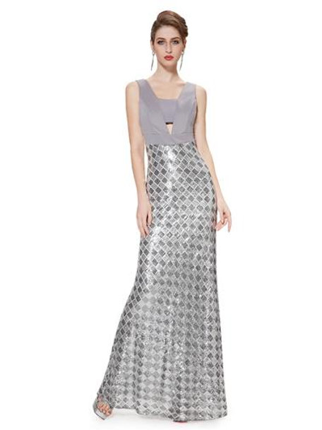 V-neck Stretchy Sequins Long Formal Evening Party Dress