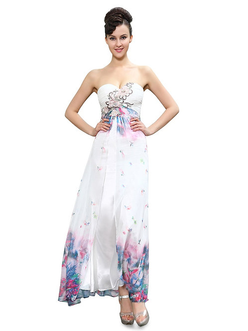 Strapless Lacey Applique Slitted Floral Printed Long Party Dress