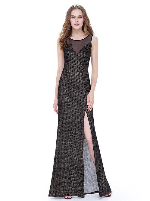 Elegant Round Neck Sleeveless Long Evening Party Dress