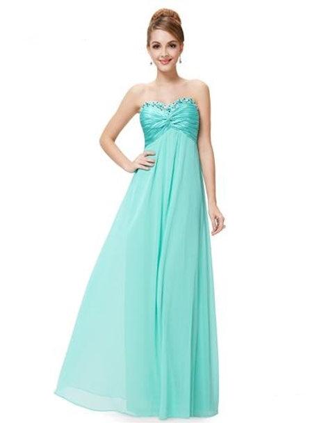 Rhinestones Ruffles Light Teal Crystal Beads Evening Dress