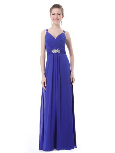 Padded Gorgeous V-neck Diamante Long Evening Dress