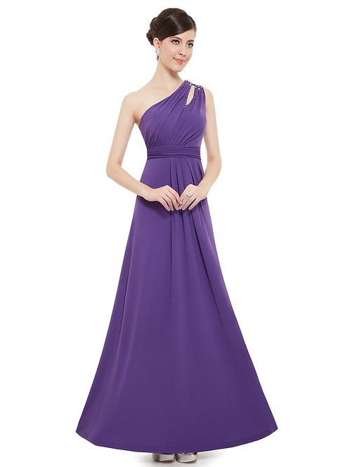 One Shoulder Empire Waist Long Evening Prom Gown