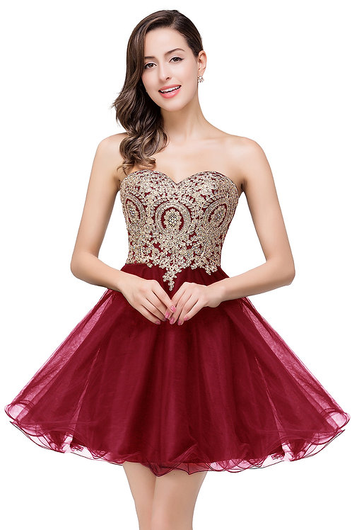 Burgundy with Gold Lace Short Prom