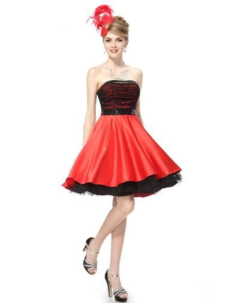 Strapless Sequins Lacey Black Red Full Skirt Party Dress