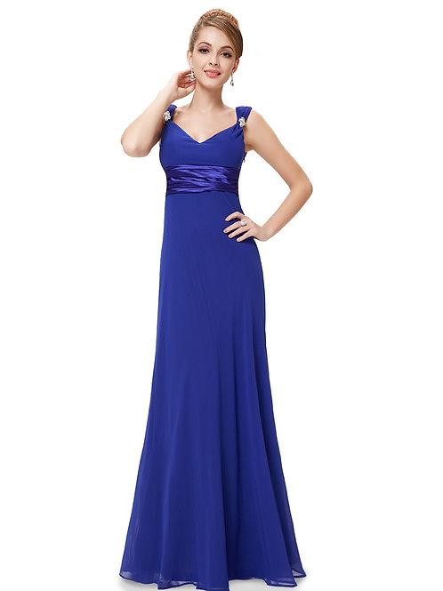 Sexy Double V-neck Blue Diamantes Chiffon Evening Dress