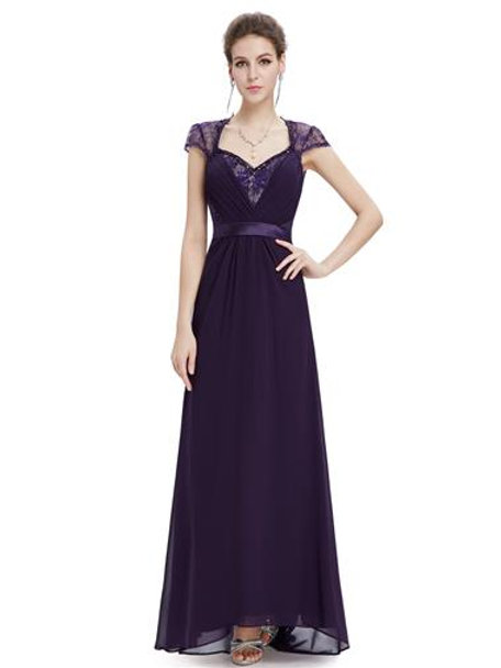 V-neck Purple Diamante Cap Sleeve Dress
