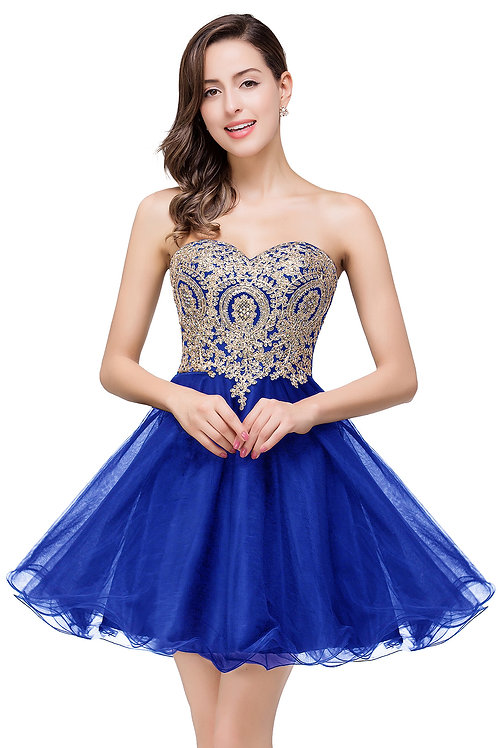 Royal Blue with Gold Lace Short Prom
