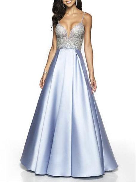 A-line V-neck Beaded Floor Length Evening Dress