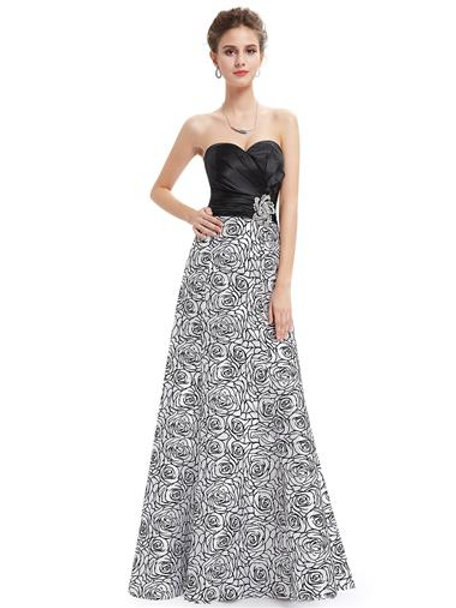Strapless Black White Satin Floral Printed Ruffles Evening Gown