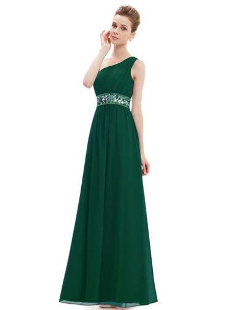 Sequins Empire Waist Ruffles Padded Chiffon Party Dress
