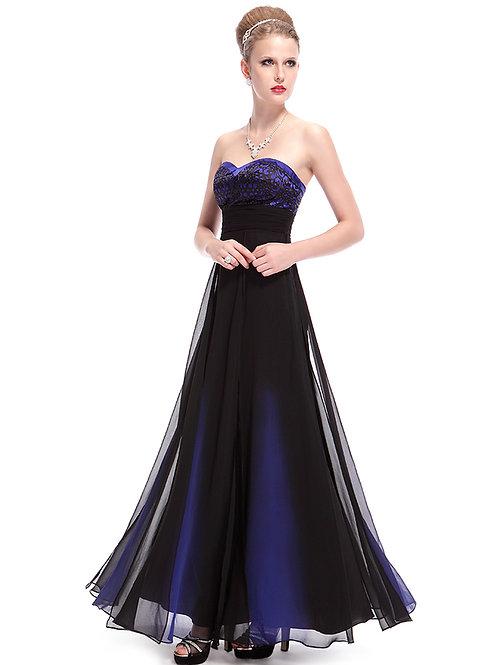 Mystical Blue Elegant Strapless Long Evening Dress