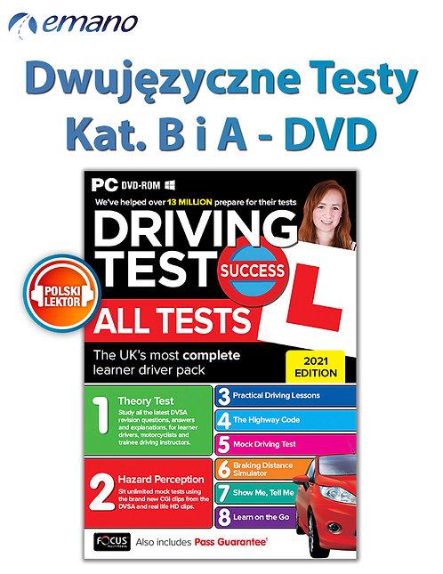 Testy DVD na prawo jazdy w UK Kat.B i A GB/PL