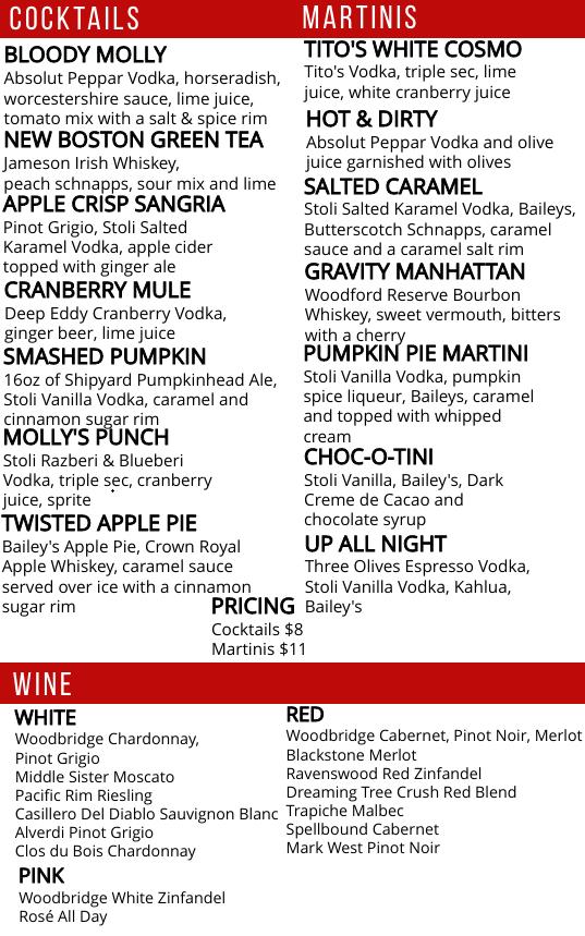 Fall drink menu 2021