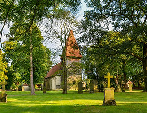 german ancient wooden church with cement
