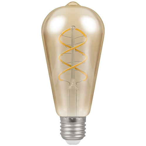 LED ST64 Spiral Filament Antique Dimmable 6W 2200K ES-E27