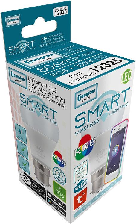 Crompton 8.5w BC GLS Smart LED RGB & 3K