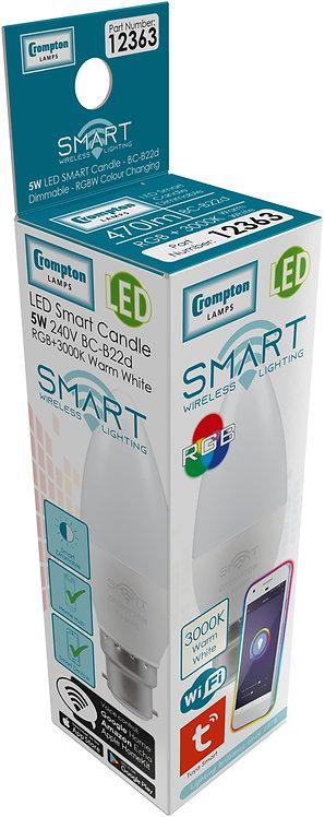 Crompton 5w BC Smart LED Candle 3k & RGB