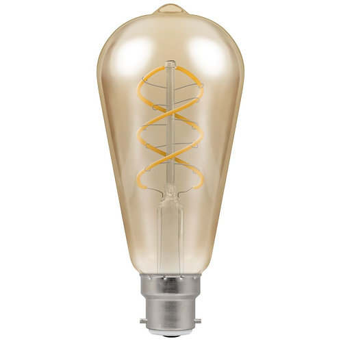 Crompton LED ST64 Spiral Filament Antique Dimmable 6W 2200K BC-B22d