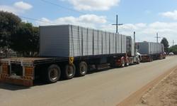 Site sheds on back of semi trailer