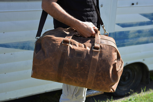 Leather Duffel Bag Overnight Bag Rustic Leather Bag