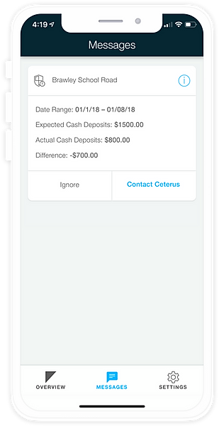 Ceterus mobile app fraud alerts