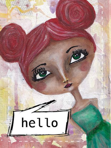 "Postkarte ""hello"""