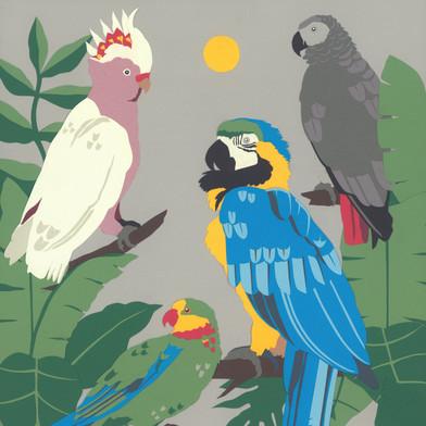 A2 Parrots Papercut