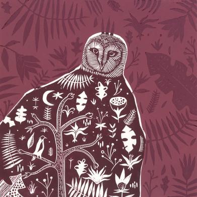 Owl Lino Cut