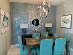 Glass walls in dining room