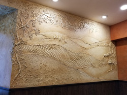 Carved plaster mural Tuscan room