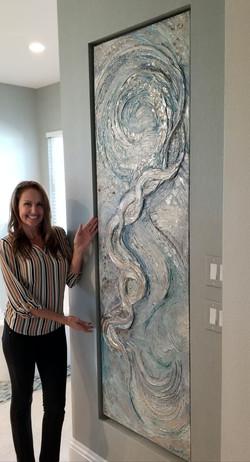 Mica, glass, textural art