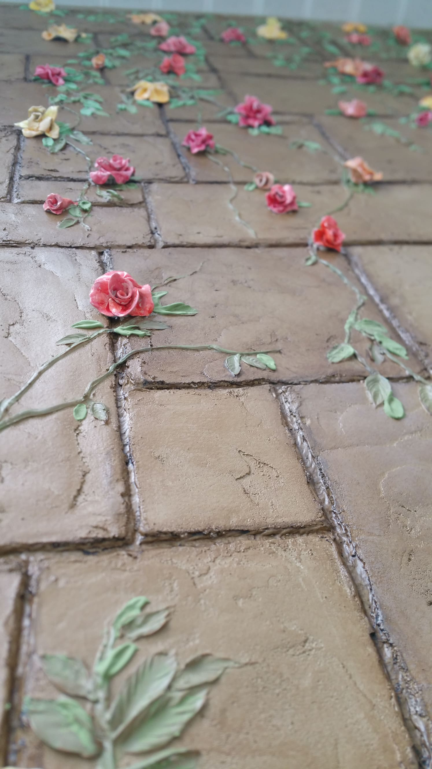 clay flowers plaster blocks
