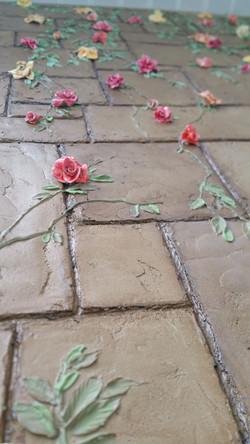 clay flowers plaster blocks